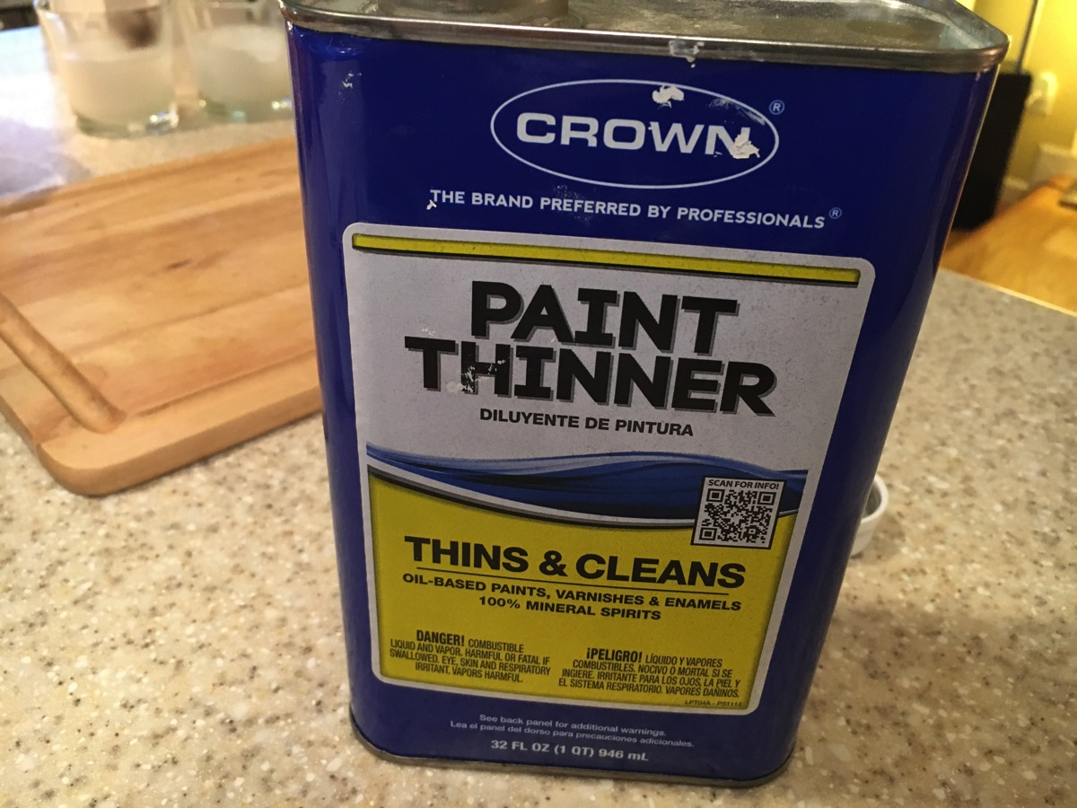 Can of paint thinner used for cleaning